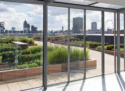 The roof terrace at Carmelite House
